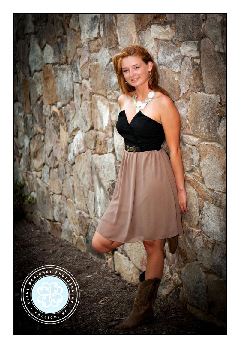 Senior girl on rock wall