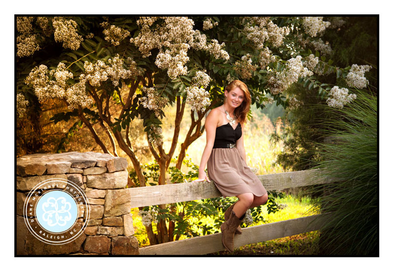 Senior girl in cowboy boots on fence in dress