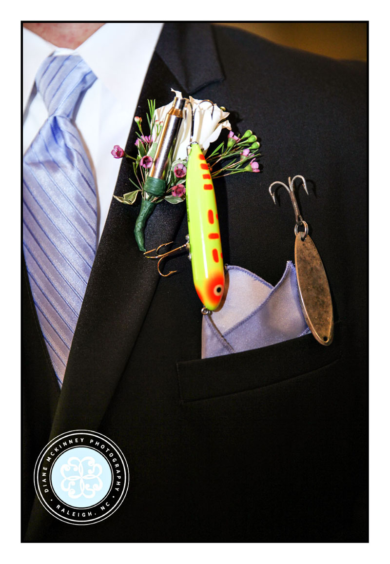 Fishing lure on Groom's Tux